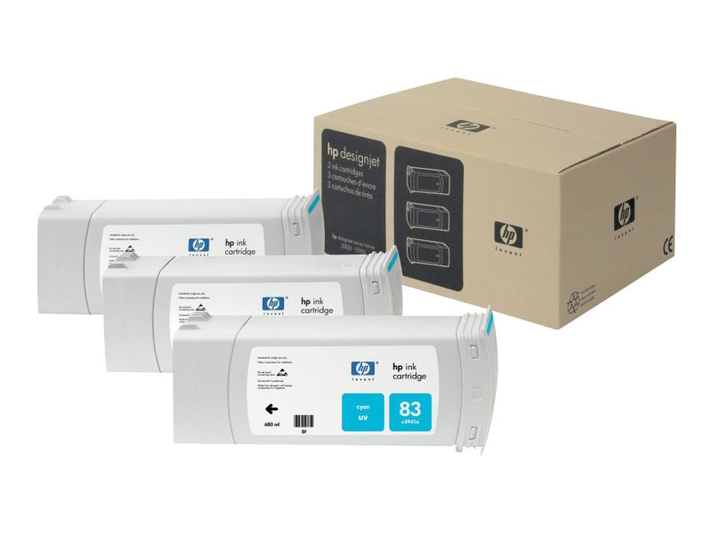 HP 83 Cyan UV Ink Cartridges (3-pack), C5073A, 469233, Ink Cartridges & Ink Refill Kits