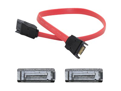 ACP-EP Latching SATA to SATA M M Cable, Red, 18, 5-Pack, SATAMM18IN-5PK