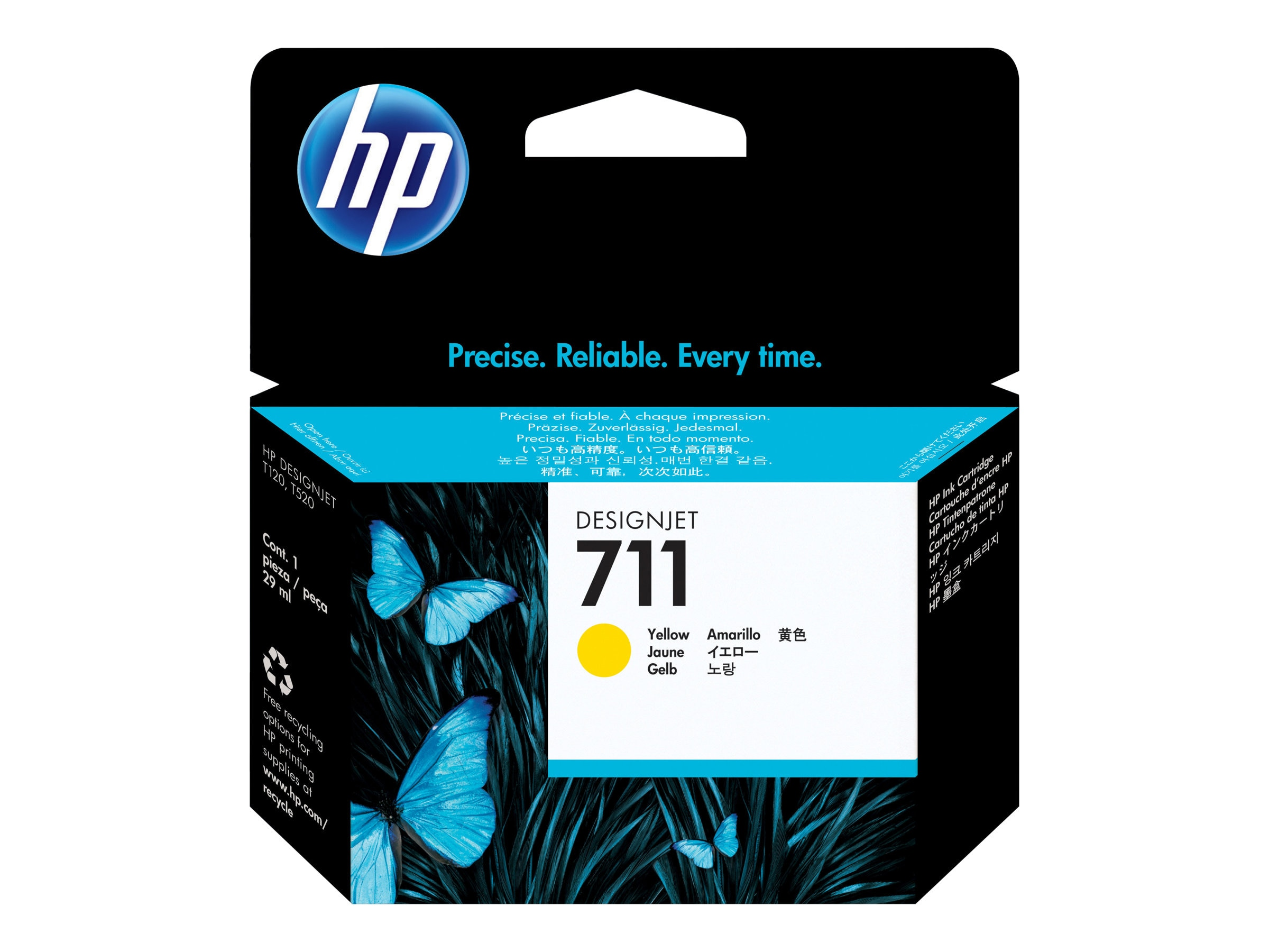 HP 711 29-ml Yellow Ink Cartridge, CZ132A
