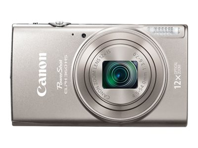 Canon PowerShot ELPH 360 HS Digital Camera, Silver, 1078C001