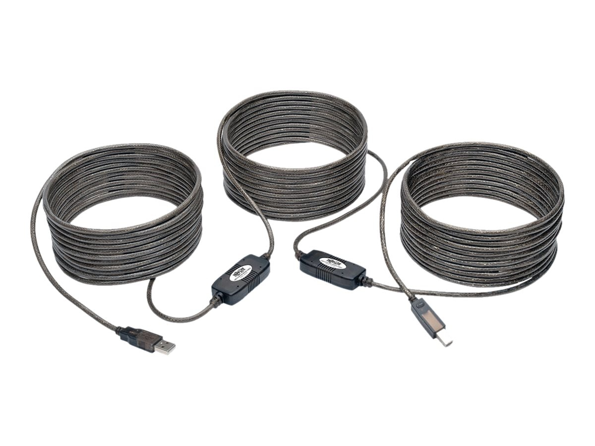 Tripp Lite USB 2.0 Hi-Speed Type A to Type B M M Active Repeater Cable, Black, 50ft, U042-050, 31775546, Cables