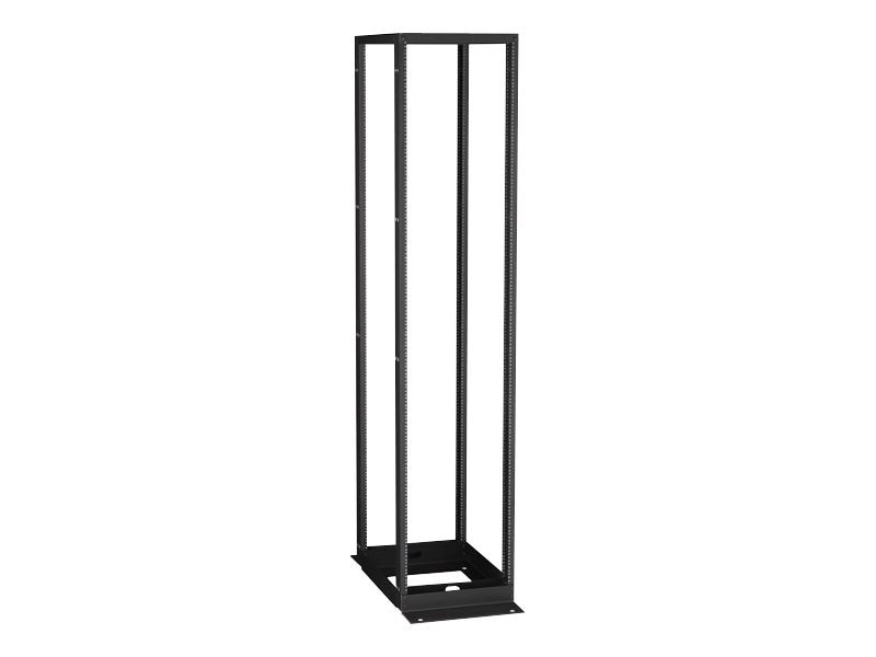 Black Box 4-Post Premier Aluminum Distribution Rack, Black Finish, 96h