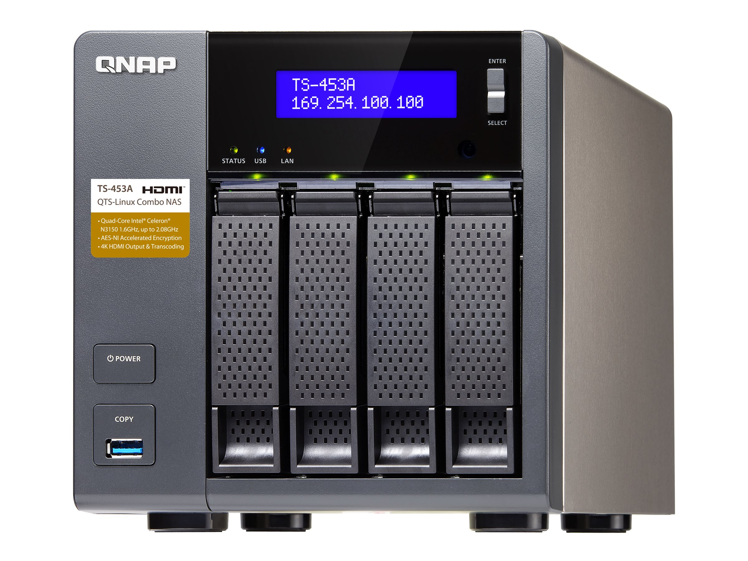 Qnap TS453A 4-Bay Professional Grade Intel QuadCore 16GHZ CPU NAS