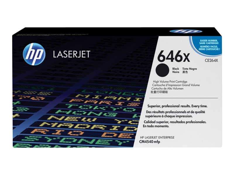 HP 646X (CE264X) High Yield Black Original LaserJet Toner Cartridge for HP LaserJet CM4540 MFP Series, CE264X, 12077312, Toner and Imaging Components