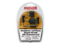 Maxell Headphone Cell Phone Adapter Kit, HP-21/190398, 9708961, Cellular/PCS Accessories