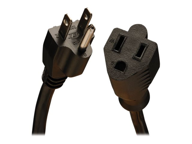 Tripp Lite Heavy Duty AC Power Extension Cord NEMA 5-15R to NEMA 5-15P 120V 15A 14 3 SJT Black 6ft, P024-006, 16275957, Power Cords
