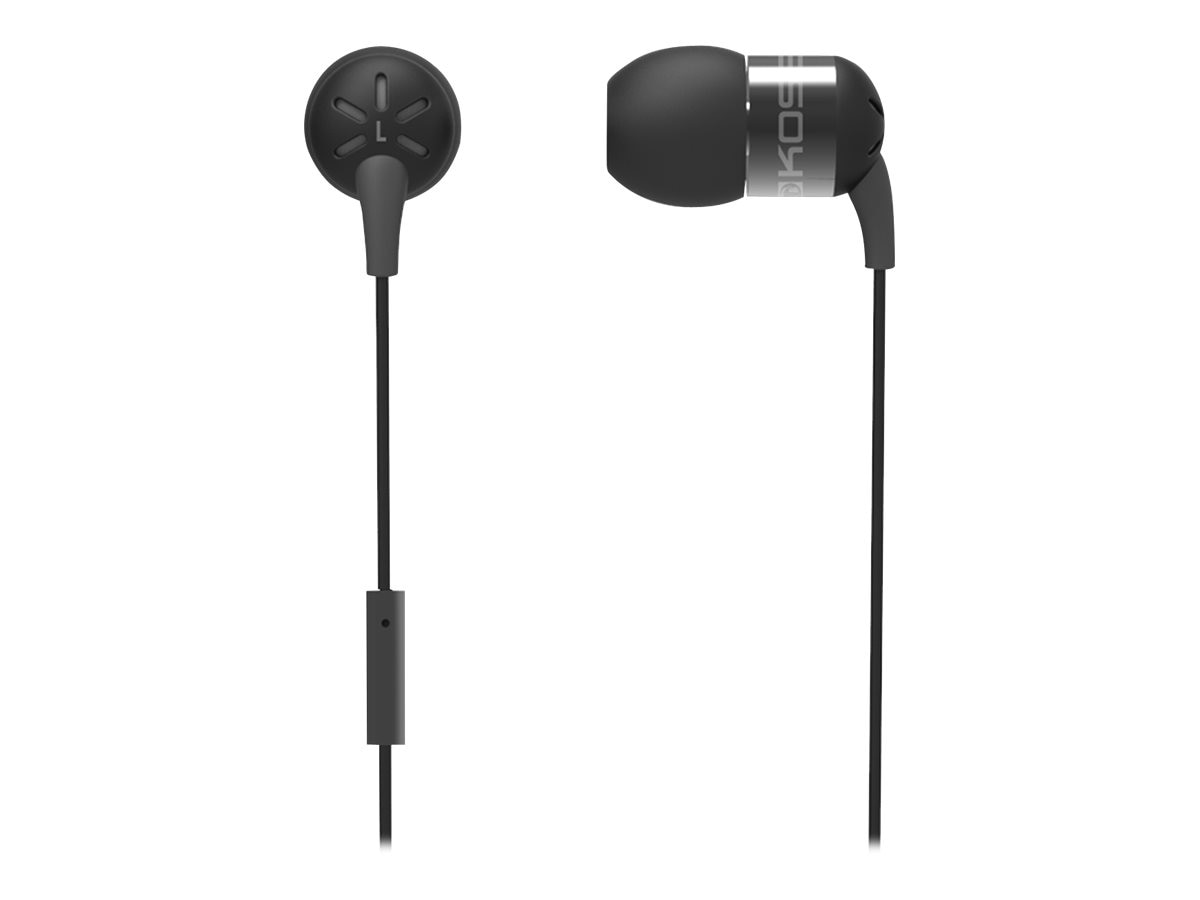 Koss Form Fitting In-Ear Buds w  Mic & Aluminum Housing - Black, KEB25I BLACK, 21897030, Headsets (w/ microphone)
