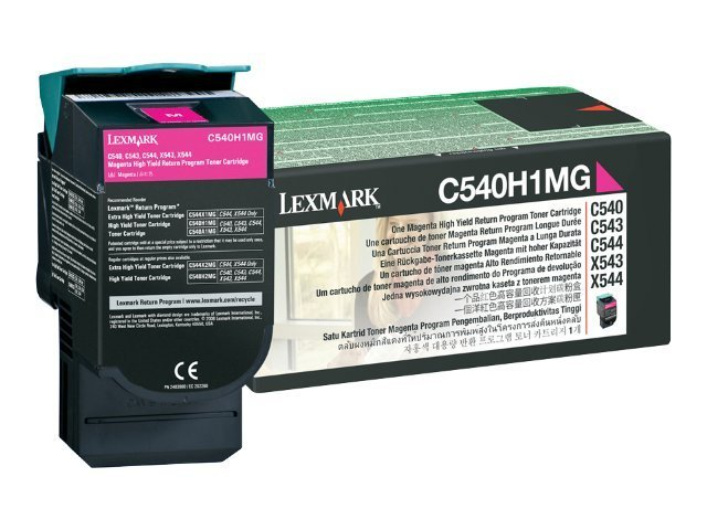 Lexmark Magenta High Yield Return Program Toner Cartridge for C540, C543 & C544 Printers & X543 & X544 MFPs, C540H1MG, 9163922, Toner and Imaging Components