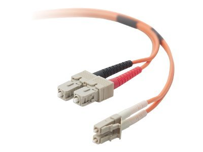 Belkin Fiber Patch Cable, LC-SC, 62.5 125, Duplex, Multimode, TAA Compliant, 2m, LCSC625-02M-TAA, 11515077, Cables