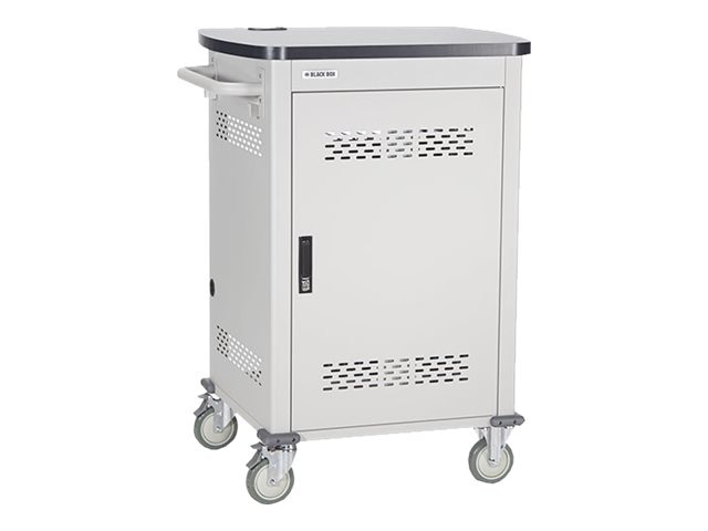 Black Box 36-Unit Deluxe Intelligent Charging Cart - Single Frame with Medium Slots, Hinged Door