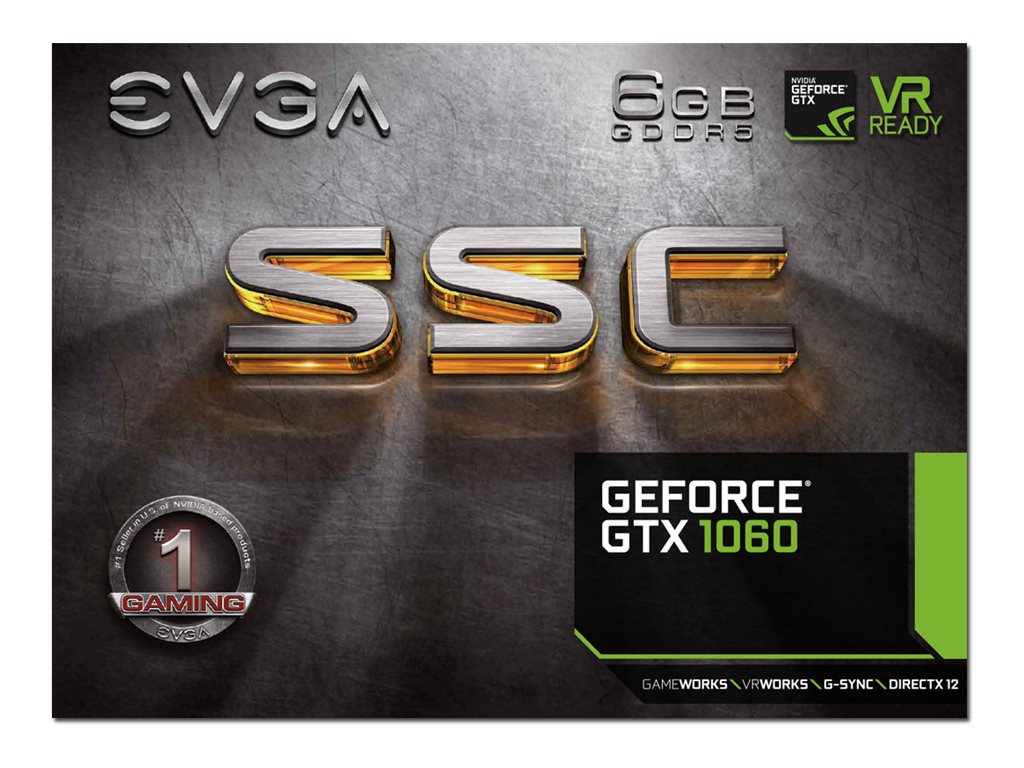 eVGA GeForce GTX 1060 SSC GAMING ACX 3.0 PCIe 3.0 Graphics Card, 6GB GDDR5, 06G-P4-6267-KR