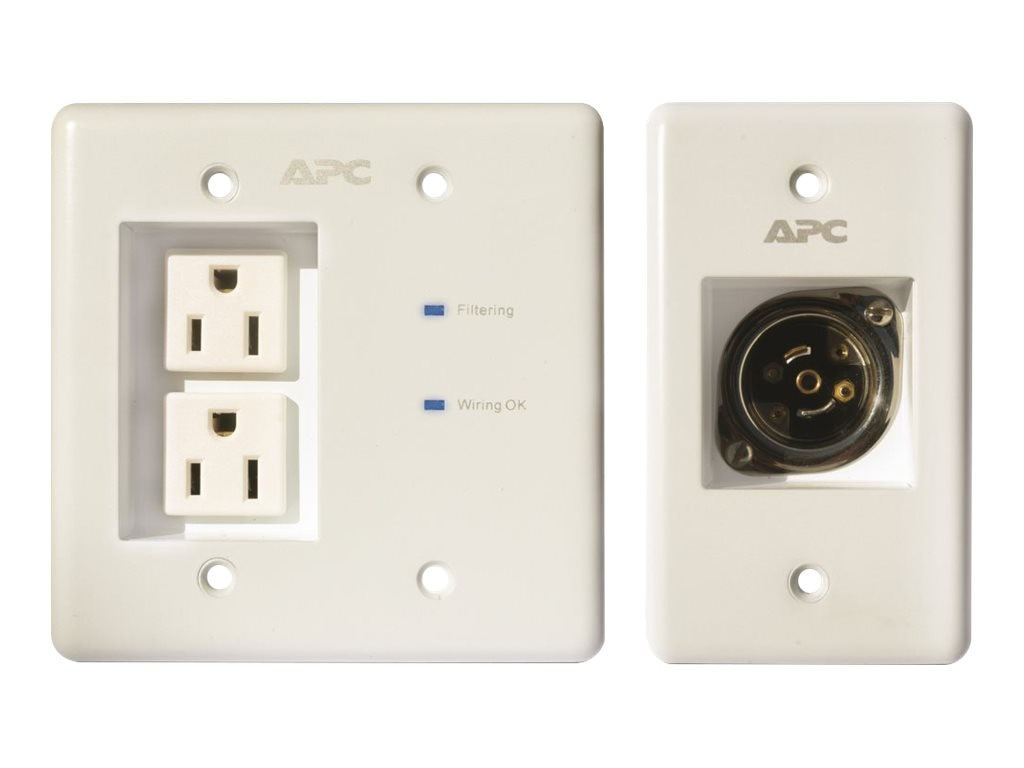 APC AV In-Wall Power Filter and Connection Kit, White, INWALLKIT-WHT, 10076682, Surge Suppressors