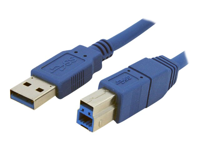 StarTech.com Super Speed USB 3.0 Cable, USB Type A to USB Type B (M-M), Blue, 1ft, USB3SAB1