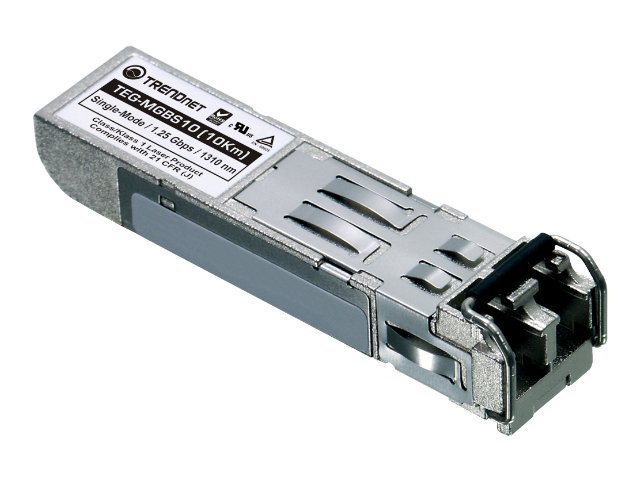 TRENDnet Mini GBIC Single Mode LC Module, TEG-MGBS10, 8555465, Network Transceivers