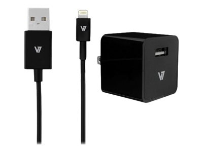 V7 1-Port 2.4A USB Wall Charger for iPad Air iPhone w  1M Lightning Cable, Black, AC30024ACLT-BLK-2N