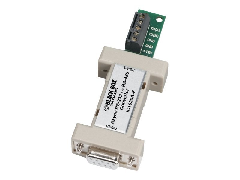 Black Box Async RS-232 to RS-485 Interface Converter, DB9 Female to Terminal Block, Bi-Directional, IC1620A-F, 5951067, Adapters & Port Converters