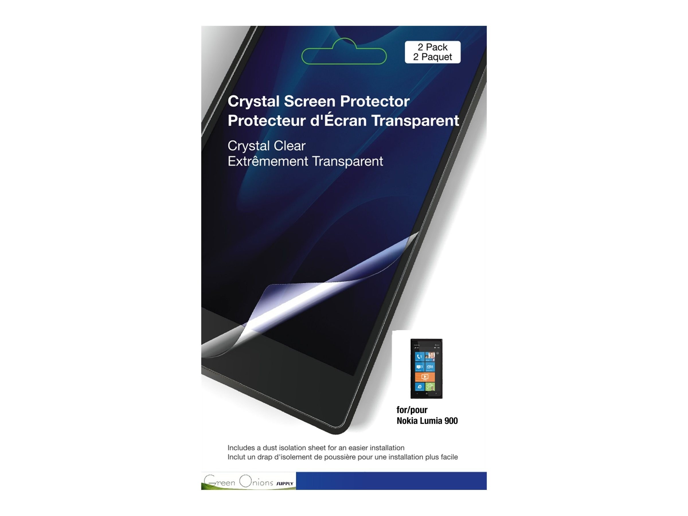 Green Onions Supply Crystal Screen Protector for Nokia Lumia 900, 2-Pack, RT-SPNL90001, 15204049, Phone Accessories