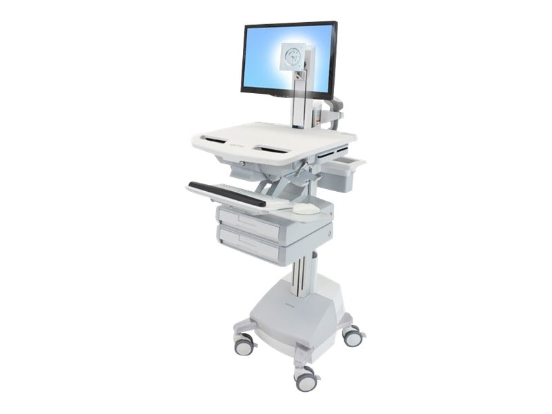 Ergotron StyleView Cart with LCD Pivot SLA Powered, 2 Drawers, SV44-1321-1, 15053172, Computer Carts - Medical
