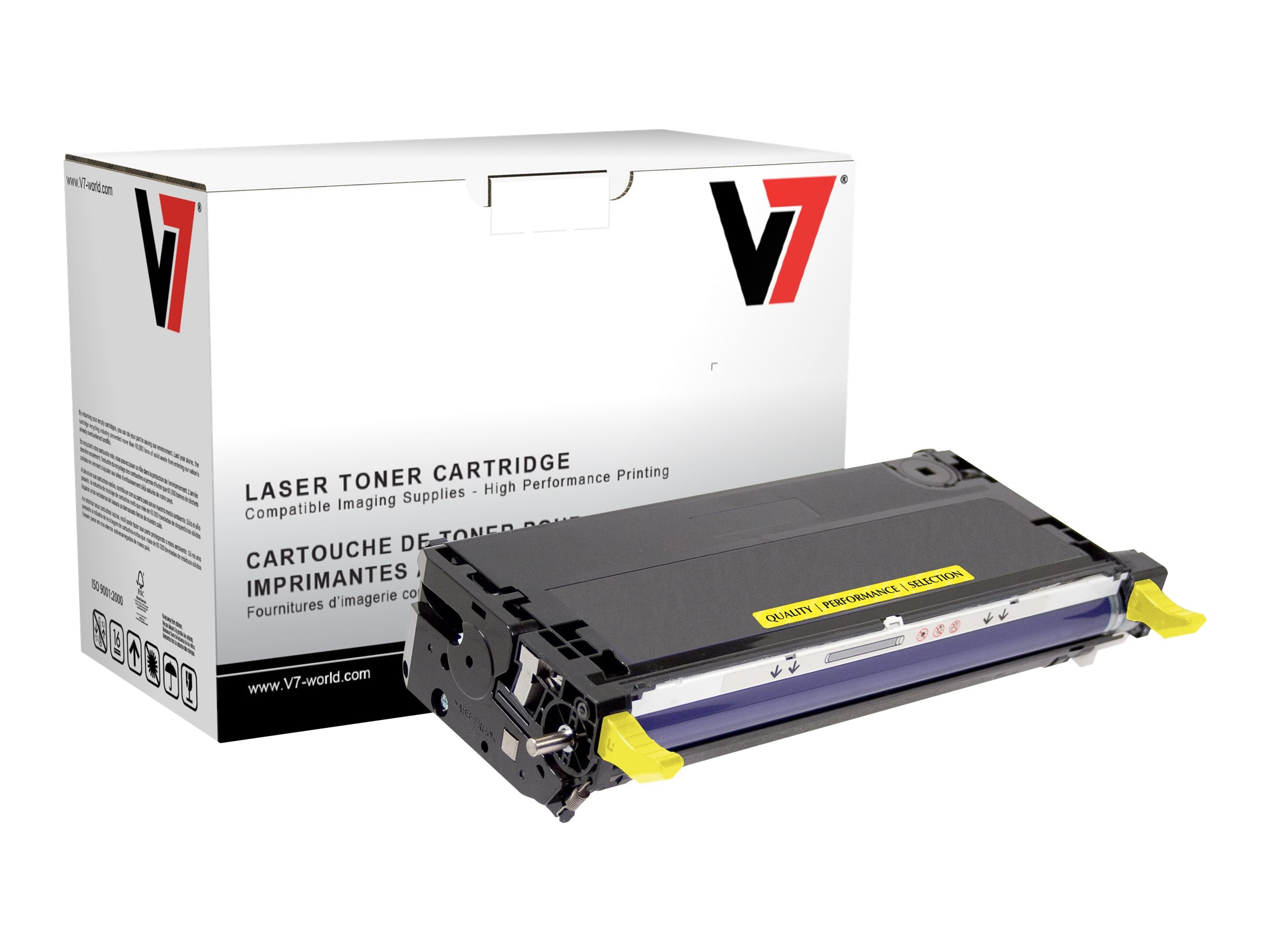 V7 113R00725 Yellow Toner Cartridge for Xerox Phaser 6180 (TAA Compliant), TXY26180H