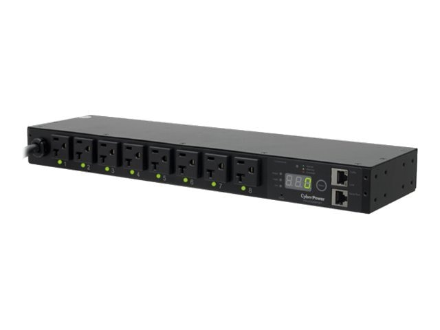 CyberPower Switched PDU 120V 20A 1U RM Digital Display SNMP 5-20P 12ft Cord (8) 5-20R Front, PDU20SW8FNET, 13268153, Power Distribution Units