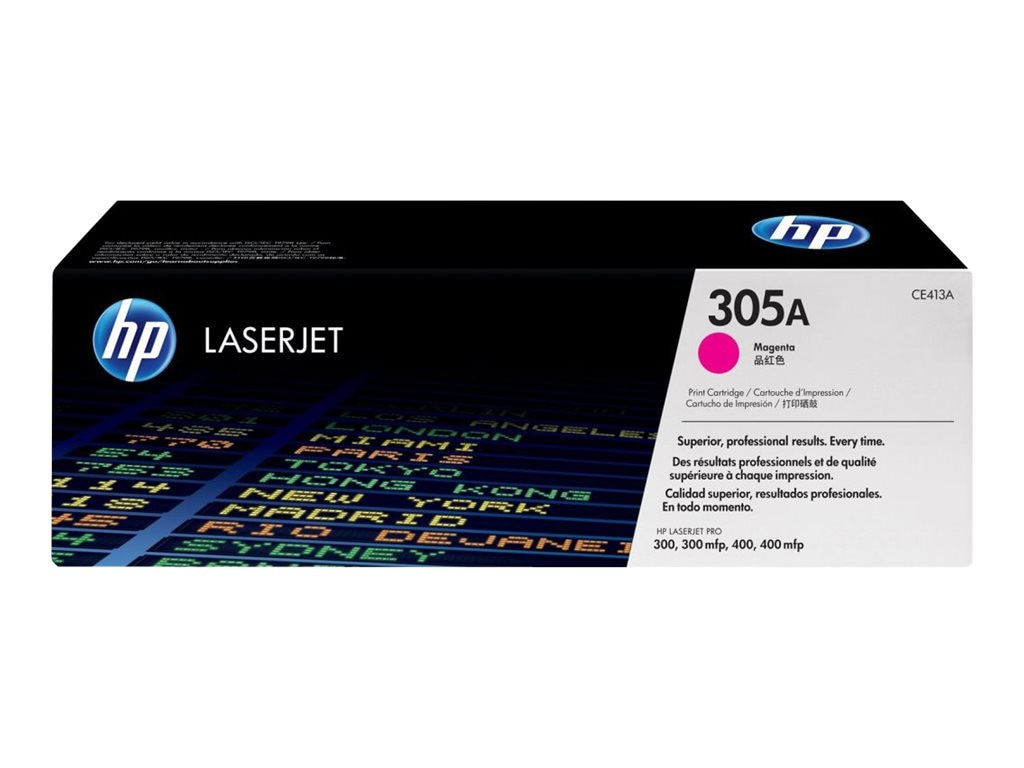 HP 305A (CE413A) Magenta Original LaserJet Toner Cartridge for HP LaserJet Pro Printers, CE413A, 13592105, Toner and Imaging Components