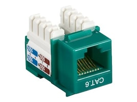 Black Box Connect CAT6 RJ-45 Keystone Jack, Unshielded, Green, CAT6J-GN, 32990942, Premise Wiring Equipment