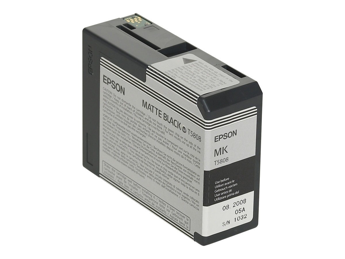 Epson 80 ml Matte Black UltraChrome K3 Ink Cartridge for Stylus Pro 3800 3800 Professional Edition, T580800, 7159655, Ink Cartridges & Ink Refill Kits