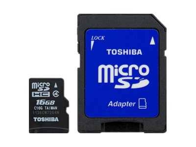 Toshiba 16GB MicroSDHC Flash Memory Card, Class 4 with SD Adapter, PFM016U-1DAK, 16450217, Memory - Flash