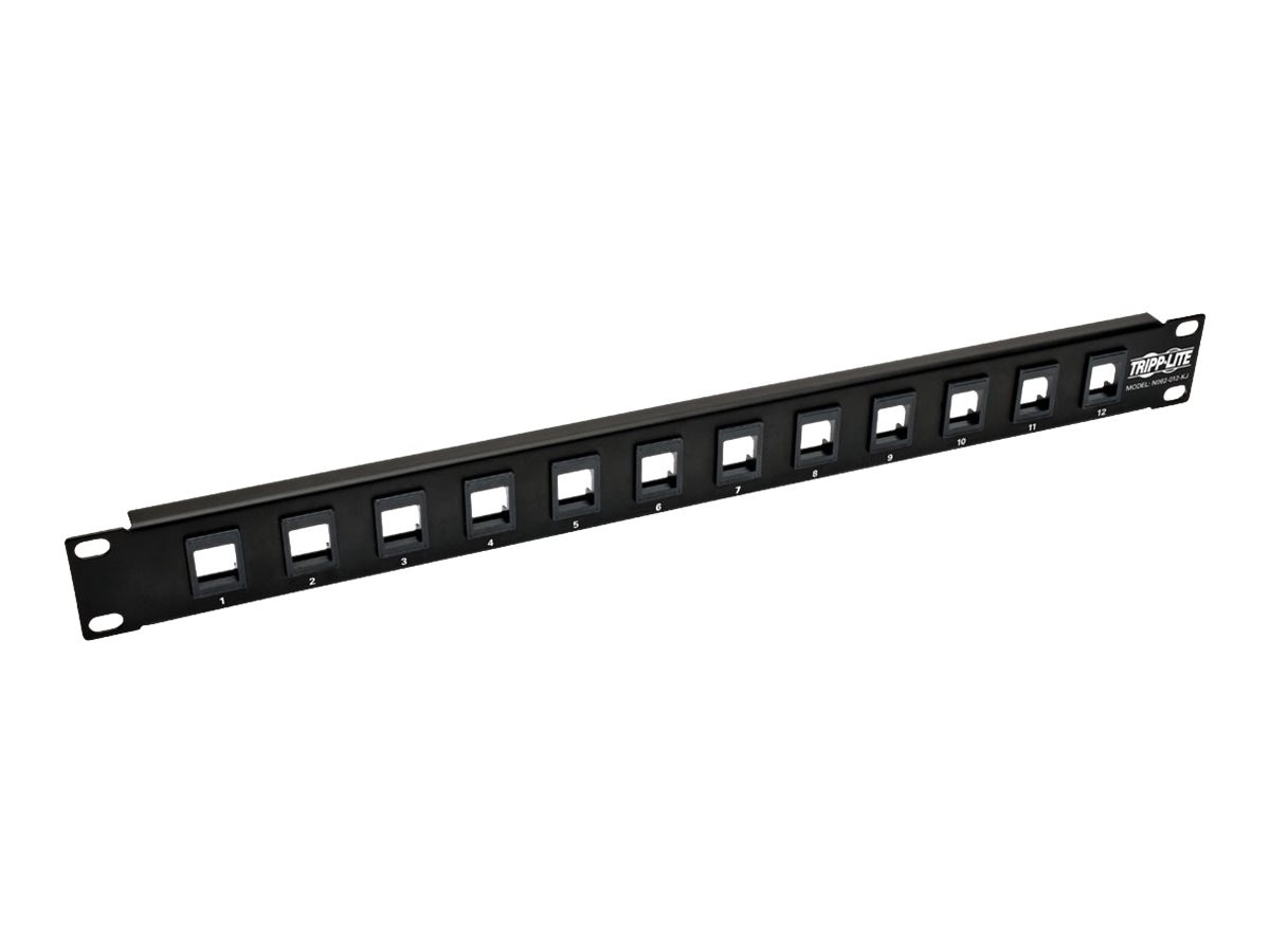 Tripp Lite 12-Port 1U RM Unshielded Blank Keystone Multimedia Patch Panel w RJ45, USB, HDMI, Cat5e 6, N062-012-KJ