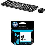 HP USB Keyboard Mouse Mouse Pad, Black Ink Bundle (CH561WN#140 B1T09AT#ABA), B1T09AT#ABA/CH561WN#140, 30543014, Keyboard/Mouse Combinations