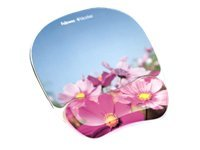 Fellowes Photo Gel Mouse Pad & Wrist Rest with Microban, Pink Flowers