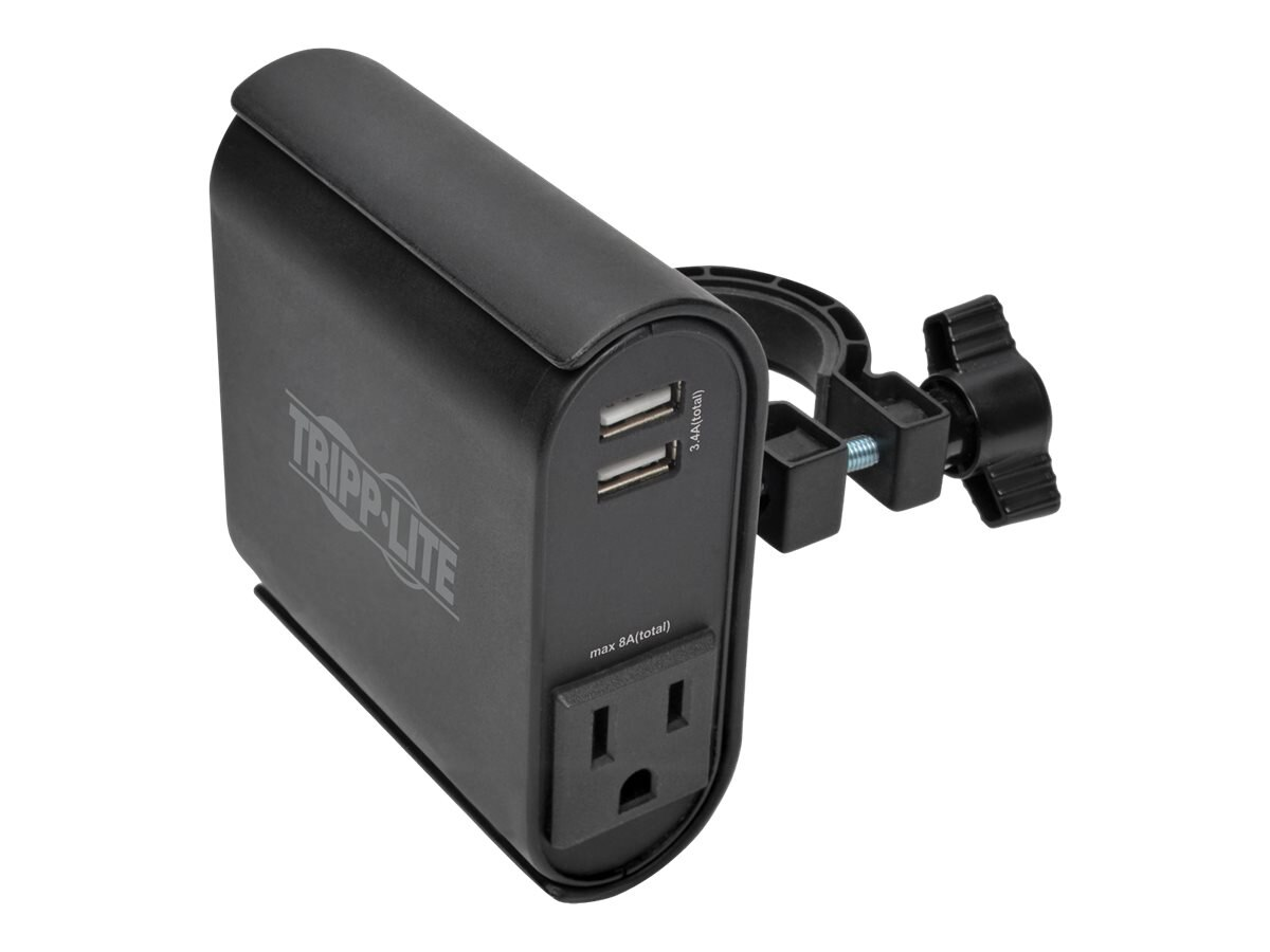 Tripp Lite AC USB Charging Clip for Display Mounts w  2-USB Ports & 2-NEMA 5-15R Outlets, 6ft Power Cord, Black, DMACUSB