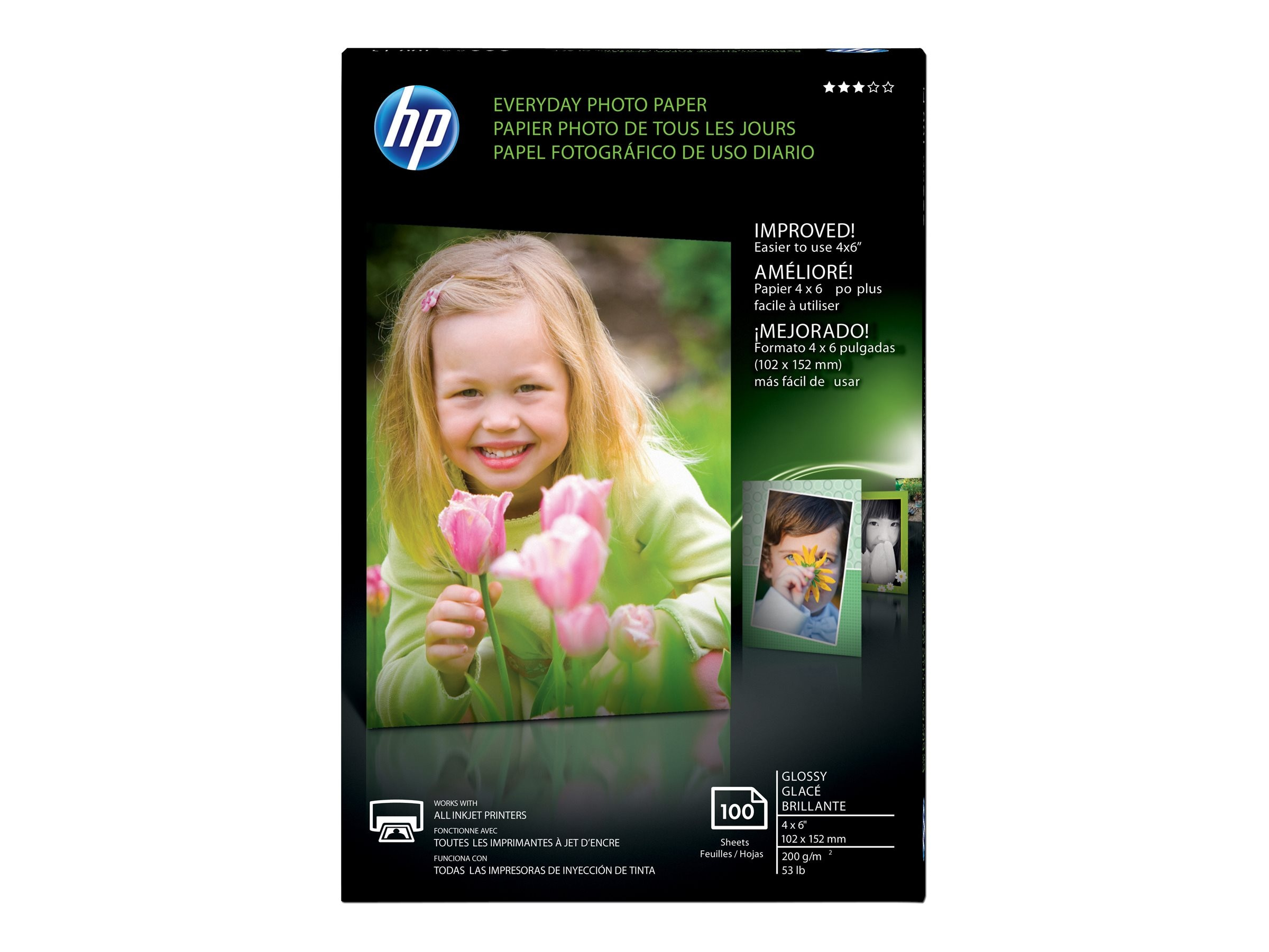 HP 4 x 6 Everyday Glossy Photo Paper (100 Sheets), CR759A