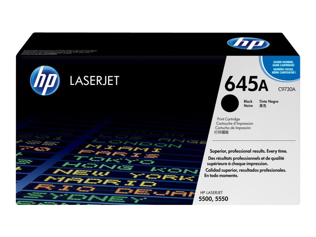 HP 645A (C9730A) Black Original LaserJet Toner Cartridge for HP Color LaserJet 5500 Printers