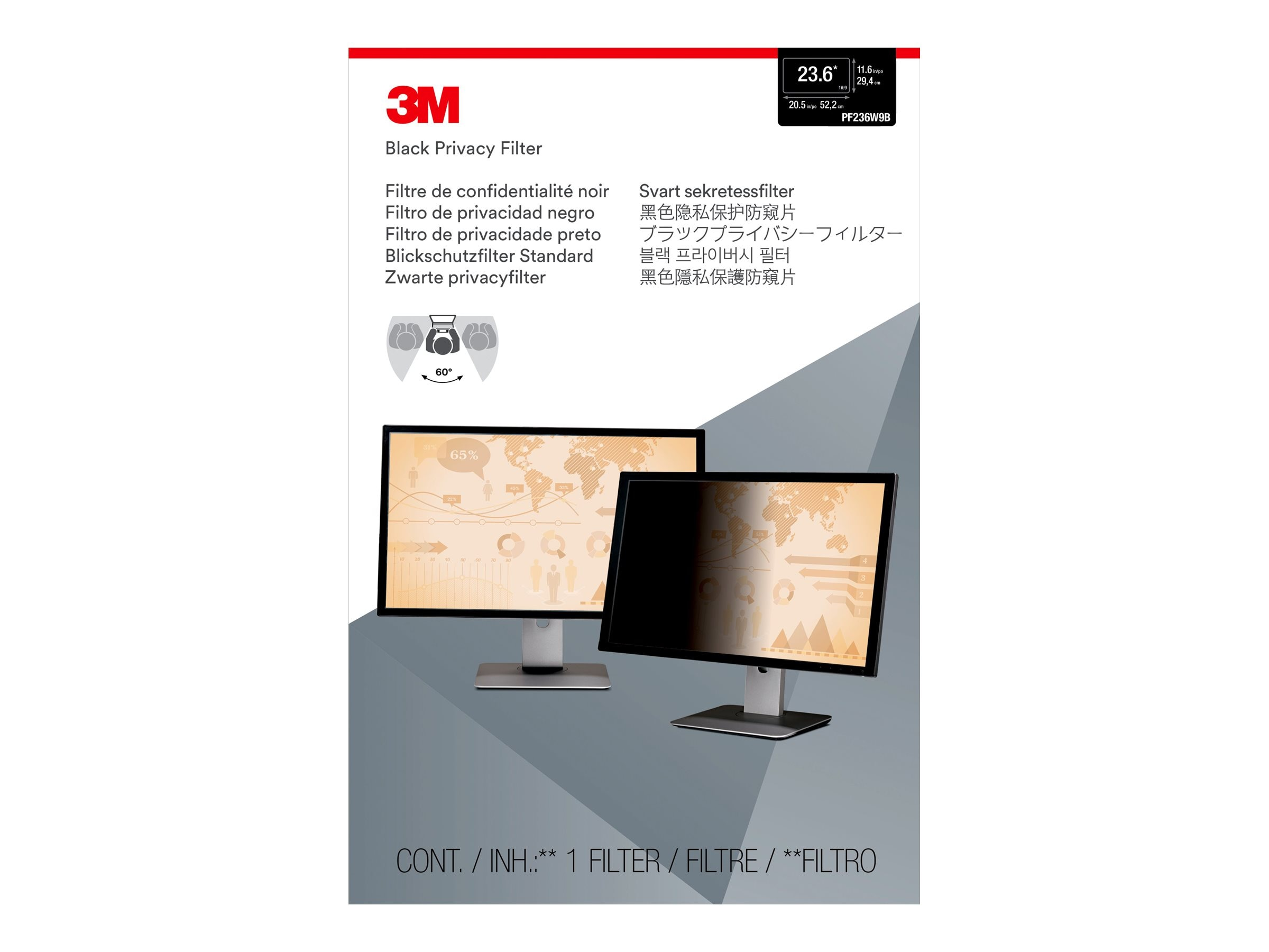 3M Privacy Filter for 23.6 16:9 Widescreen Monitor
