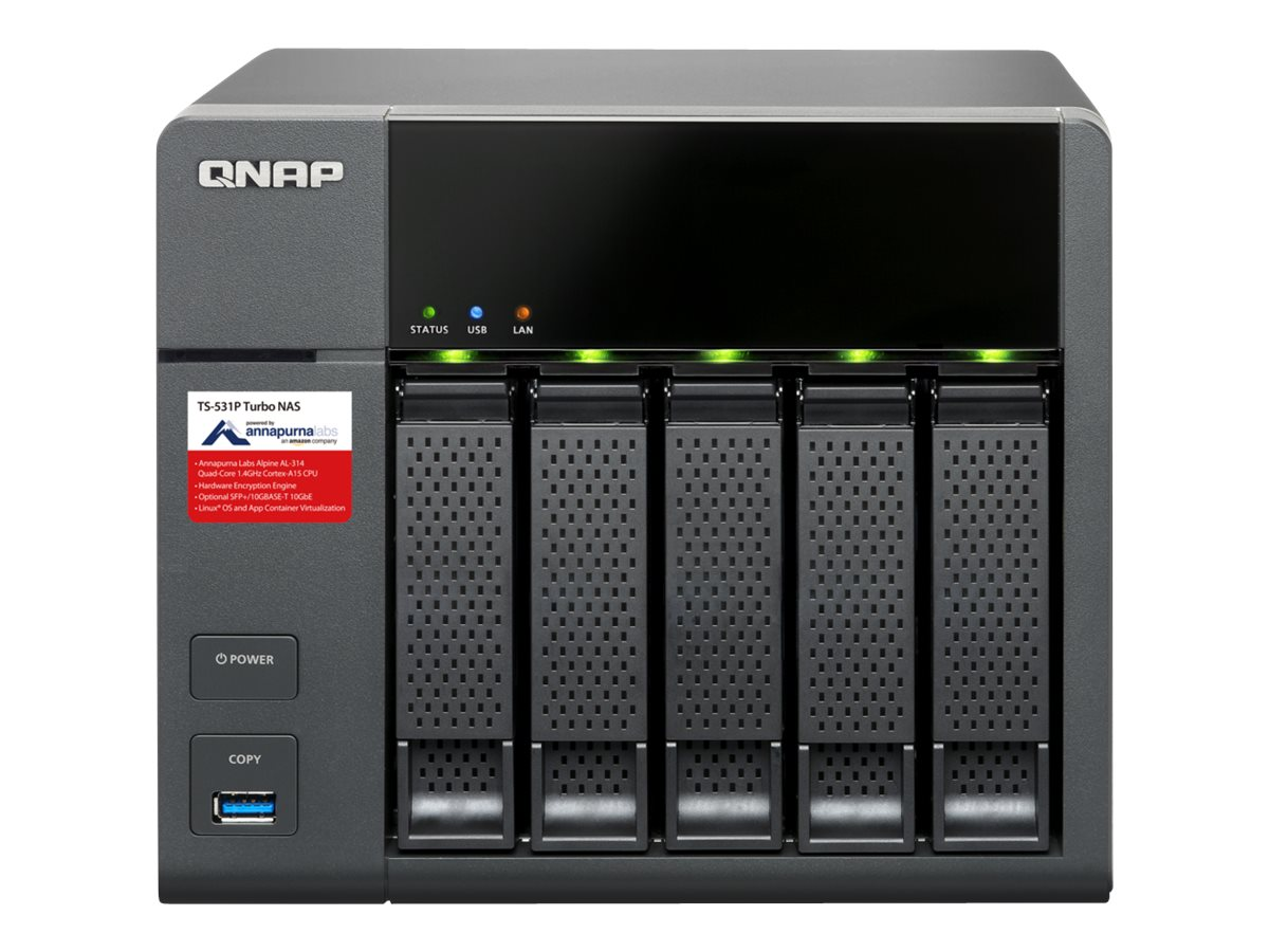 Qnap TS531P ARM-Based QuadCore 1.4GHZ 8GB RAM NAS w  Hardware Encryption, TS-531P-2G-US, 31069916, Network Attached Storage
