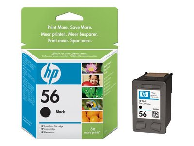 HP 56 (C6656AN) Black Original Ink Cartridge, C6656AN#140, 9737092, Ink Cartridges & Ink Refill Kits