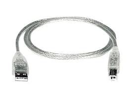 Network Tech USB 2.0 Type A to Type B M M Cable, Clear, 6ft, USB2-AB-6-5T, 33593623, Cables