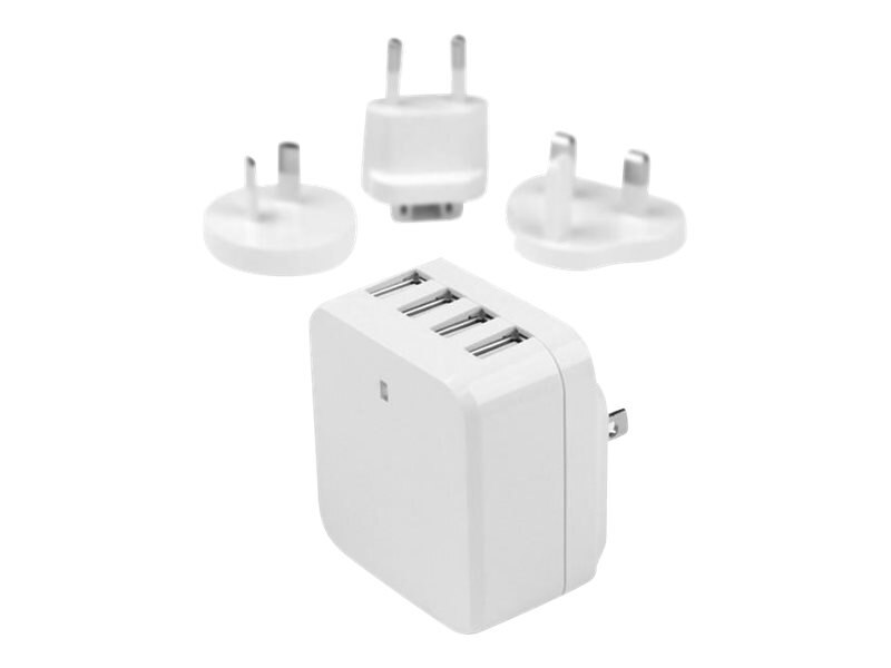 StarTech.com 4-Port USB Wall Charger, 34W 6.8A for International Travel, White