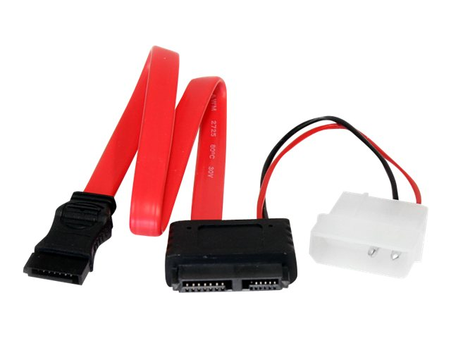 StarTech.com Slimline SATA (F) to SATA with LP4 Power Cable Adapter, 20in, SLSATAF20, 9378712, Adapters & Port Converters