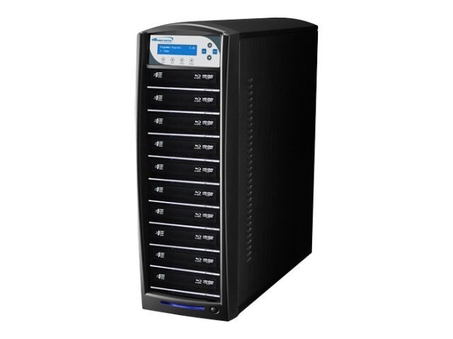 Vinpower SharkBlu HDD to 10 SATA Blu-ray DVD CD Tower Duplicator - LG 12x, BD-LG-10-BK, 15131791, Disc Duplicators