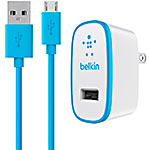 Belkin MIXIT Home Travel Wall Charger w  4ft Micro USB ChargeSync Cable, 2.1A, Blue