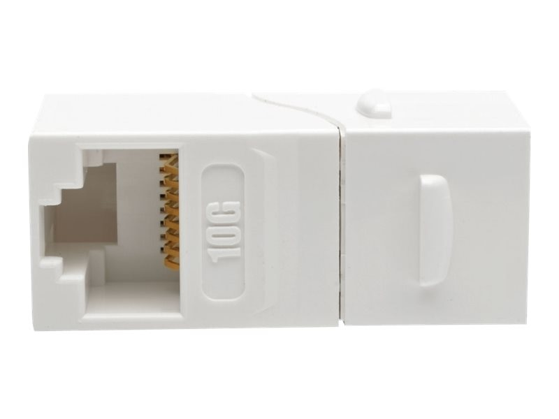 Tripp Lite Cat6a Straight-Through Modular Shielded In-Line Snap-In Coupler w  90-Degree Down-Angled Port, White, N235-001-WH-6AD