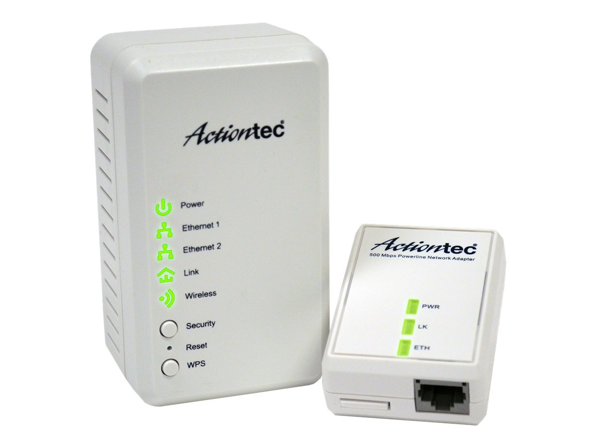 Actiontec Powerline 500Mbps Extender Kit, PWR51WK01, 16397671, Network Starter Kits
