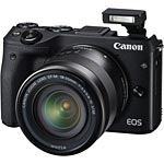 Canon EOS M3 Mirrorless Digital Camera with 18-55mm Lens, Black, 9694B011, 31987047, Cameras - Digital - SLR