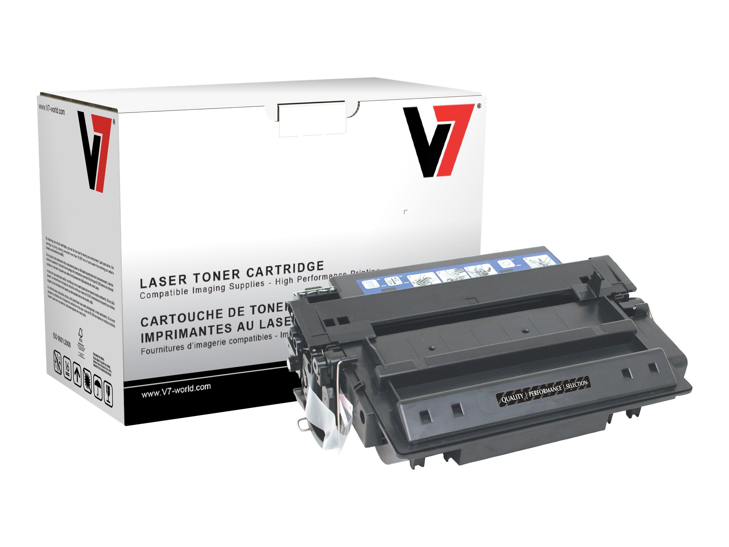 V7 Q7551X Black Ultra High Yield Toner Cartridge for HP LaserJet P3005 (TAA Compliant), THK27551JX