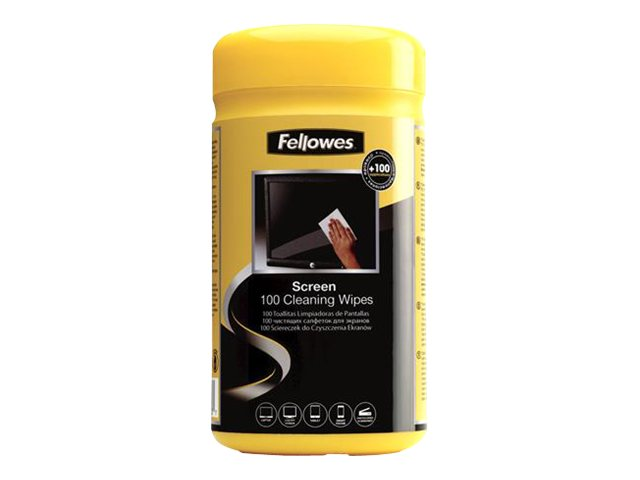 Fellowes Screen Cleaning Wipes, Premoistened, 100-Count Tub, 99703, 186347, Cleaning Supplies