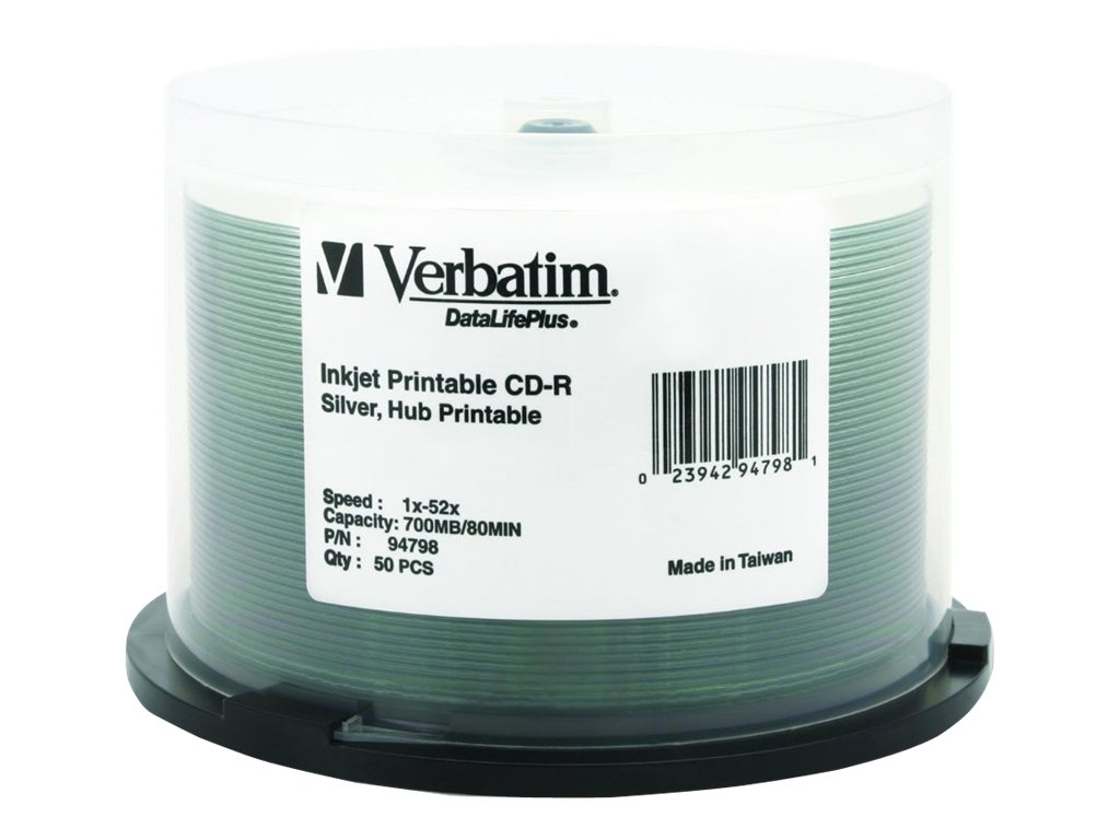Verbatim 52x 700MB 80min. DataLifePlus Silver Inkjet Printable, Hub Printable CD-R Media (50-pack Spindle), 94798, 5640120, CD Media