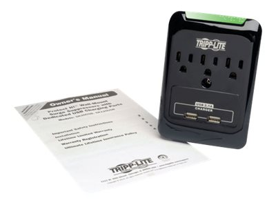 Tripp Lite Protect It! Surge Suppressor, 540 Joules, (3) Outlets, Direct Plug-In, SK30USB