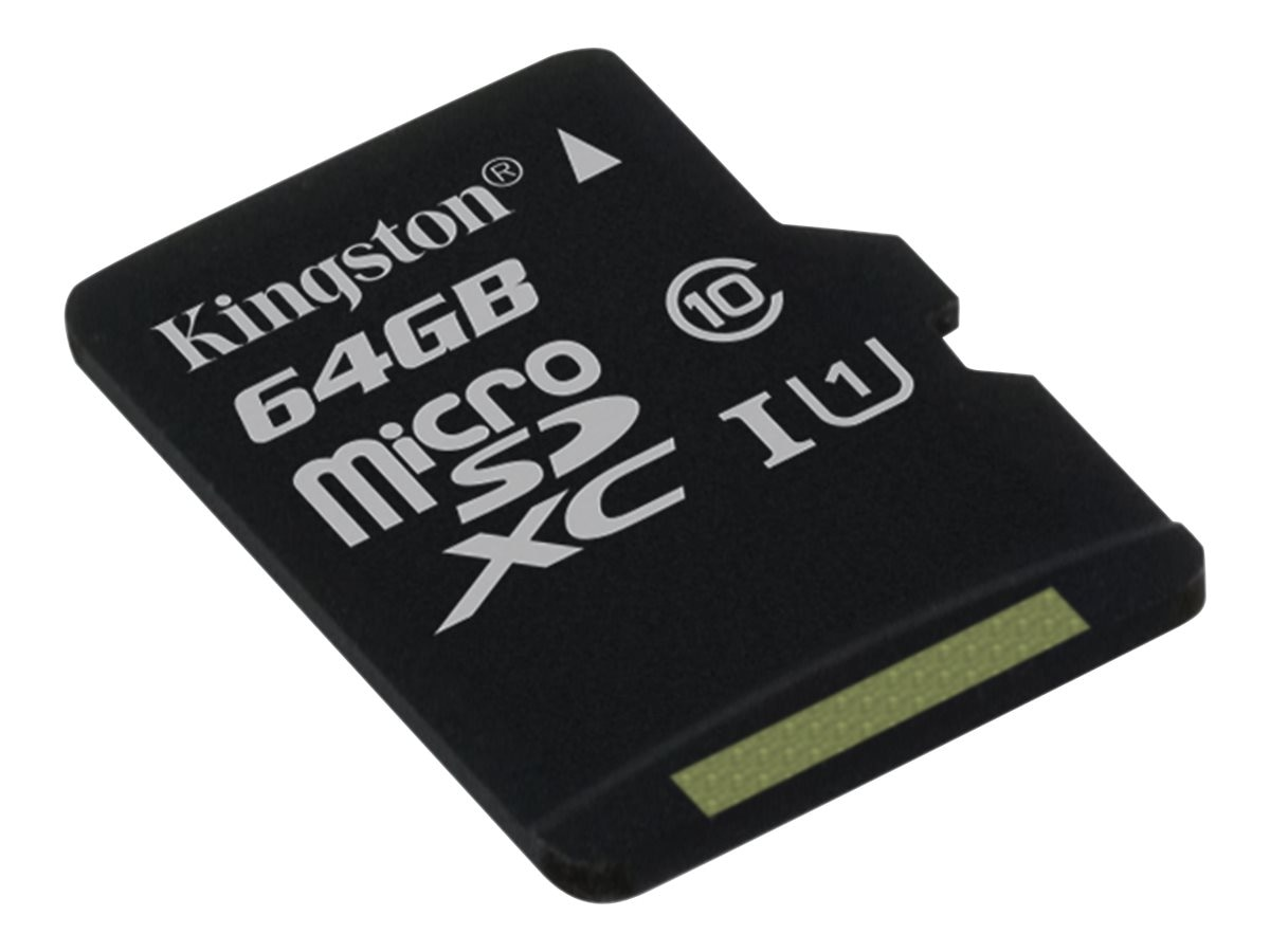 Kingston 64GB UHS-I microSDXC Flash Memory Card with SD Adapter, Class 10, SDC10G2/64GB